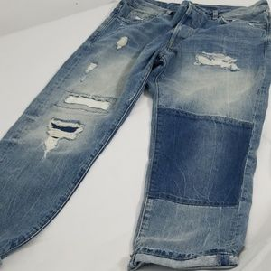 Men's cropped distressed patchwork jeans